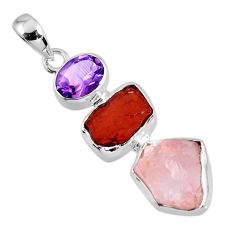 15.62cts natural pink rose quartz rough garnet rough 925 silver pendant r56698