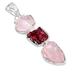 19.18cts natural pink rose quartz rough garnet rough 925 silver pendant r57037