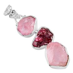 18.15cts natural pink rose quartz rough garnet rough 925 silver pendant r57040