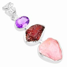 16.87cts natural pink rose quartz raw garnet rough 925 silver pendant r83050