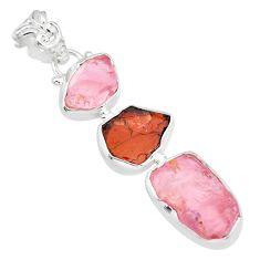 15.55cts natural pink rose quartz raw garnet rough 925 silver pendant r83068