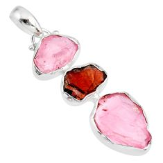 15.02cts natural pink rose quartz raw garnet rough 925 silver pendant r83072