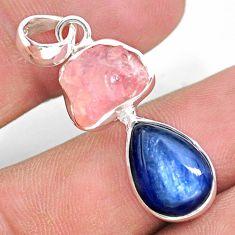 10.32cts natural pink rose quartz raw kyanite 925 silver pendant t25535
