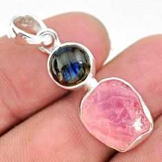 8.73cts natural pink rose quartz raw labradorite 925 silver pendant t25497