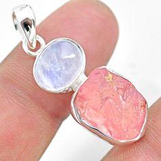 10.76cts natural pink rose quartz raw moonstone 925 silver pendant t25472