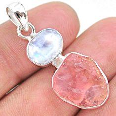 10.69cts natural pink rose quartz raw moonstone 925 silver pendant t25491