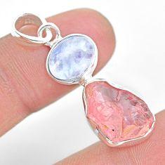 9.61cts natural pink rose quartz raw moonstone 925 silver pendant t25505