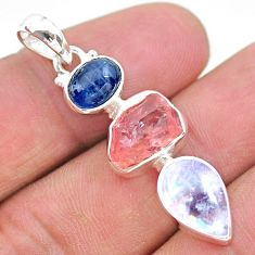 10.79cts natural pink rose quartz raw moonstone kaynite silver pendant t25452