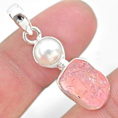 7.97cts natural pink rose quartz raw pearl 925 sterling silver pendant t25474