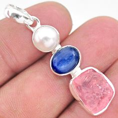 12.10cts natural pink rose quartz raw pearl kyanite 925 silver pendant t25432