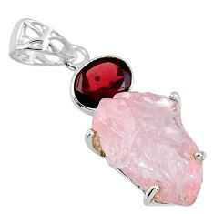 15.65cts natural pink rose quartz rough red garnet 925 silver pendant r57001