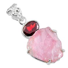 16.85cts natural pink rose quartz rough red garnet 925 silver pendant r57003