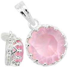 5.03cts natural pink rose quartz round 925 sterling silver crown pendant t7869