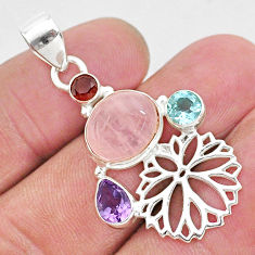 7.12cts natural pink rose quartz topaz amethyst 925 silver flower pendant r96411