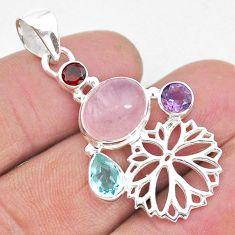 8.05cts natural pink rose quartz topaz amethyst 925 silver flower pendant r96415