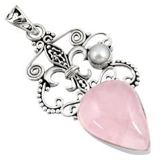 15.67cts natural pink rose quartz white pearl 925 sterling silver pendant d39405
