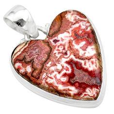 18.15cts heart pink rosetta stone jasper 925 sterling silver pendant t22987