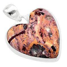 18.70cts heart pink rosetta stone jasper 925 sterling silver pendant t22989