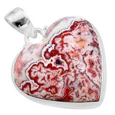 21.42cts heart pink rosetta stone jasper heart 925 silver pendant t22993