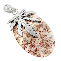 Clearance Sale- 32.10cts natural pink rosetta stone jasper silver deltoid leaf pendant d45550