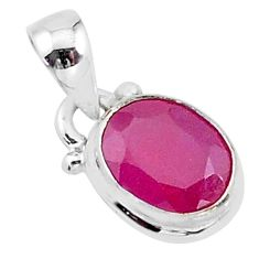 2.88cts natural pink ruby 925 silver handmade pendant jewelry t16760