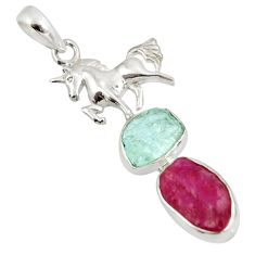 15.16cts natural pink ruby rough 925 silver horse pendant jewelry d39205