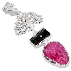 11.95cts natural pink ruby rough 925 silver tree of life pendant jewelry r55545