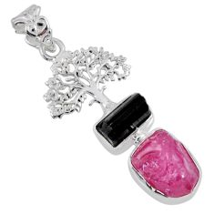 10.93cts natural pink ruby rough 925 silver tree of life pendant jewelry r55547