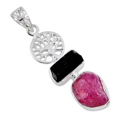 10.64cts natural pink ruby rough 925 silver tree of life pendant jewelry r55549