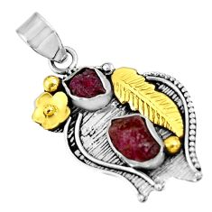 9.03cts natural pink ruby rough 925 sterling silver 14k gold pendant d39150