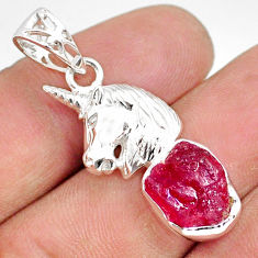 6.54cts natural pink ruby raw 925 sterling silver horse pendant jewelry r80862