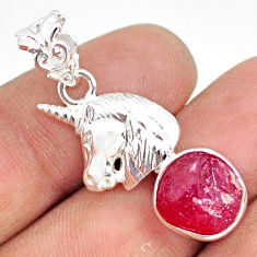 7.40cts natural pink ruby raw 925 sterling silver horse pendant jewelry r80863