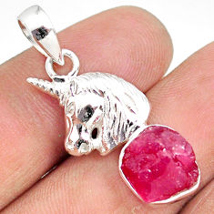 6.83cts natural pink ruby raw 925 sterling silver horse pendant jewelry r80873