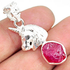 7.12cts natural pink ruby raw 925 sterling silver horse pendant jewelry r80877