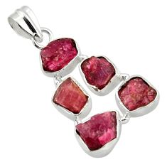18.46cts natural pink ruby rough 925 sterling silver pendant jewelry r41018