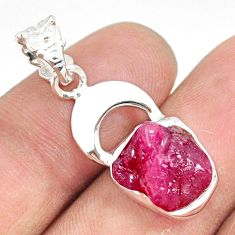 6.27cts natural pink ruby raw 925 sterling silver handmade pendant r80878