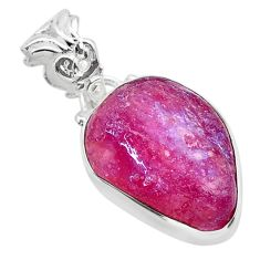 12.58cts natural pink ruby raw 925 silver handmade pendant jewelry t31253
