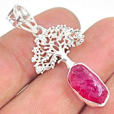 6.10cts natural pink ruby raw 925 sterling silver tree of life pendant r80865