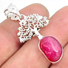 7.38cts natural pink ruby raw 925 sterling silver tree of life pendant r80869