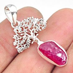 5.53cts natural pink ruby raw 925 sterling silver tree of life pendant r80870