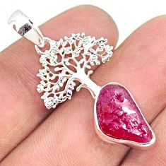 6.08cts natural pink ruby raw 925 sterling silver tree of life pendant r80871