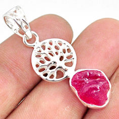 5.53cts natural pink ruby raw 925 sterling silver tree of life pendant r80880