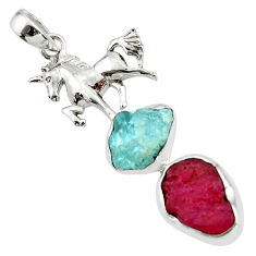13.60cts natural pink ruby rough aquamarine rough 925 silver pendant r44633