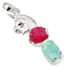 14.41cts natural pink ruby rough aquamarine rough silver horse pendant d39219