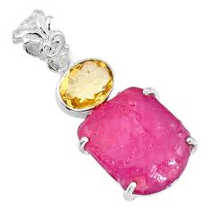 15.10cts natural pink ruby rough citrine 925 sterling silver pendant r57007