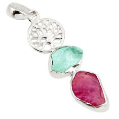 12.50cts natural pink ruby rough fancy 925 silver tree of life pendant d39208