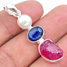 12.10cts natural pink ruby raw pearl kaynite 925 silver pendant t25453