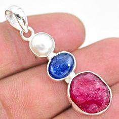 12.60cts natural pink ruby raw pearl kyanite 925 silver pendant jewelry t25422