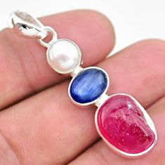 14.14cts natural pink ruby raw pearl kyanite 925 silver pendant jewelry t25457