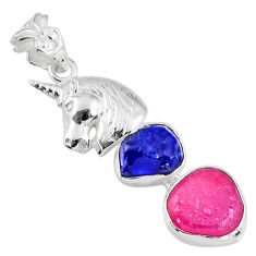 11.95cts natural pink ruby rough sapphire rough 925 silver horse pendant r57063